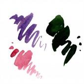 Fotografie Abstraktní zelené, červené a fialové aquarelle šplouchání pro pozadí, textury. Ilustrace akvarel zázemí. Aquarelle ruční izolované skvrny
