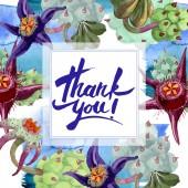Duvalia virágok. Köszönjük, hogy a kézírás monogram kalligráfia. Akvarell háttér illusztráció. Test-tér. Az Aquarelle kézzel szukkulens növények