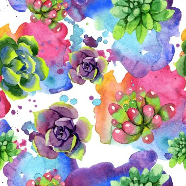 Amazing succulents. Watercolor background illustration. Seamless background pattern. Fabric wallpaper print texture. stock vector