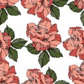 Fotografia Rose di vettore bella. Foglie di primavera selvatico. Coral arte di inciso inchiostro di colore. Reticolo senza giunte della priorità bassa. Stampa tessuto per tappezzeria