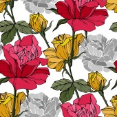 Fotografia Rose di vettore bella. Foglie di primavera selvatico. Arte di inchiostro rosso e giallo inciso. Reticolo senza giunte della priorità bassa. Stampa tessuto per tappezzeria