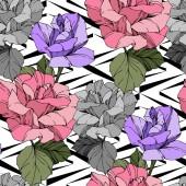Fotografia Rose di vettore bella. Foglie di primavera selvatico. Arte di inchiostro inciso rosa e viola. Reticolo senza giunte della priorità bassa. Stampa tessuto per tappezzeria
