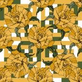 Fotografia Rose di vettore bella. Fiori botanici floreale. Foglie di primavera selvatico. Colore giallo inciso arte di inchiostro. Reticolo senza giunte della priorità bassa. Stampa tessuto per tappezzeria