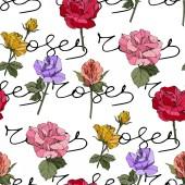 Fotografia Rose di vettore bella. Fiori botanici floreale. Foglie di primavera selvatico. Arte di inchiostro inciso rosso, giallo e viola. Reticolo senza giunte della priorità bassa. Stampa tessuto per tappezzeria