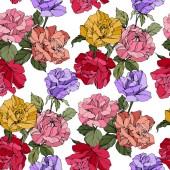 Růže nádherné vektorové. Květinové botanické květin. Divoká jarní listy. Červené, žluté a fialové ryté inkoust umění. Vzor bezešvé pozadí. Fabric tapety tisku textura