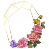 Fotografie Vektor-Rosen. Floral botanische Blumen. Koralle, rosa und gelbe gravierte Tinte Kunst. Frame Goldenen Kristall. Geometrische Polygonform Kristall