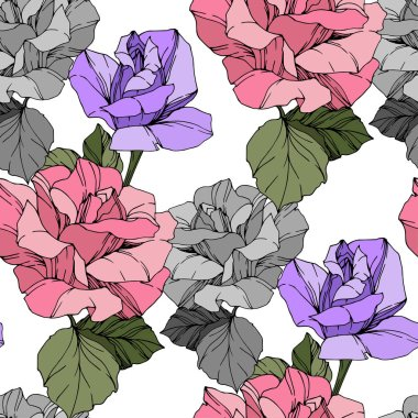 Beautiful vector roses. Wild spring leaves. Pink and purple engraved ink art. Seamless background pattern. Fabric wallpaper print texture. clip art vector
