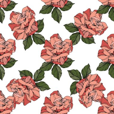Beautiful vector roses. Wild spring leaves. Coral color engraved ink art. Seamless background pattern. Fabric wallpaper print texture. clip art vector