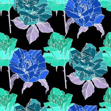 Beautiful vector roses. Wild spring leaves. Green and blue engraved ink art. Seamless background pattern. Fabric wallpaper print texture. stock vector