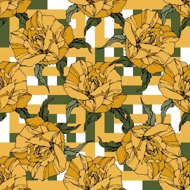 Güzel vektör gül. Botanik çiçek çiçekler. Vahşi Bahar bırakır. Sarı renk mürekkep sanat kazınmış. Sorunsuz arka plan deseni. Kumaş duvar kağıdı yazdırma doku.