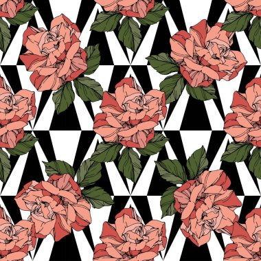 Beautiful vector roses. Floral botanical flowers. Wild spring leaves. Coral color engraved ink art. Seamless background pattern. Fabric wallpaper print texture. stock vector