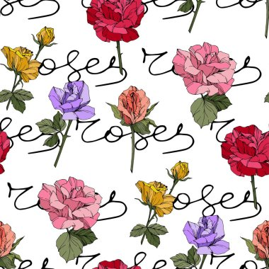 Beautiful vector roses. Floral botanical flowers. Wild spring leaves. Red, yellow and purple engraved ink art. Seamless background pattern. Fabric wallpaper print texture.