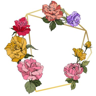 Vector Roses. Floral botanical flowers. Red, pink and yellow engraved ink art. Frame golden crystal. Geometric polygon crystal shape.