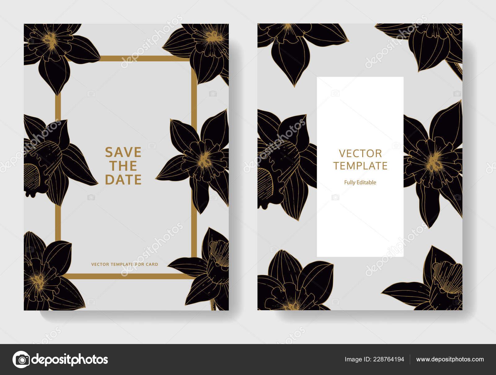 Vektor Narzisse Blumen Hochzeitskarten Mit Blumen Dekorative Grenzen
