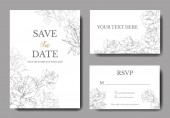 Fotografie White cards with rose flowers. Wedding cards with floral decorative engraved ink art. Thank you, rsvp, invitation elegant cards illustration graphic set banners.