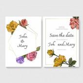 Bílé karty s květy růže. Svatební oznámení s květinovou dekorativní rytý inkoust umění. Děkuji, rsvp, pozvání elegantní karty obrázku Grafická sada bannerů
