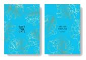 Vektoros kék kártyák rózsaszirom. Esküvői meghívók, virágos dekoratív vésett tinta művészet. Köszönöm, rsvp, pályázati elegáns kártya illusztráció grafikai készlet.