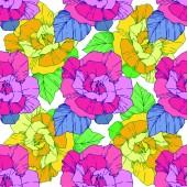 schöne Vektorrosen. wilde Frühlingsblätter. Gravierte Tuschekunst in gelb und rosa. nahtlose Hintergrundmuster. Stoff Tapete drucken Textur.