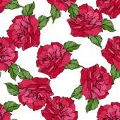 Fotografia Rose di vettore bella. Foglie di primavera selvatico. Colore rosso inciso arte di inchiostro. Reticolo senza giunte della priorità bassa. Stampa tessuto per tappezzeria