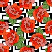 Fotografie Schöne Vektor Rosen. Orange Farbe eingraviert Tinte Kunst. Nahtlose Hintergrundmuster. Stoff Tapete drucken.