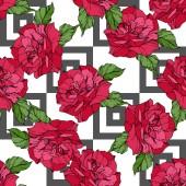 Fotografia Rose di vettore bella. Colore rosso inciso arte di inchiostro. Reticolo senza giunte della priorità bassa. Stampa tessuto per tappezzeria