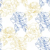 Beautiful vector roses. Golden and blue color engraved ink art. Seamless background pattern. Fabric wallpaper print texture.