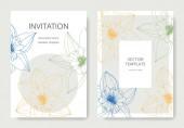 Vektor nárcisz virág. Esküvői meghívók-virágos dekoratív határok. Sárga vésett tinta art. Köszönöm, rsvp, pályázati elegáns kártya illusztráció grafikus beállítása bannerek.