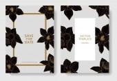 Fotografia Fiori di Narciso di vettore. Partecipazioni di nozze con bordi decorativi floreali. Bianco e nero inciso arte di inchiostro. Grazie, rsvp, invito carte elegante illustrazione immagine set banner