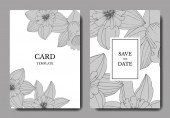 Fotografie Vector Narcissus flowers. Wedding cards with floral decorative borders. Black and white engraved ink art. Thank you, rsvp, invitation elegant cards illustration graphic set banners.
