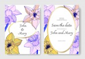 Vector Narcissus flowers. Wedding cards with floral decorative borders. Yellow and purple engraved ink art. Thank you, rsvp, invitation elegant cards illustration graphic set.