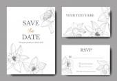 Fotografie Vektor-Narzisse Blumen. Hochzeitskarten mit Blumen dekorative Grenzen. Schwarz / weiß graviert Tinte Kunst. Danke, rsvp, Einladung elegante Karten Illustration Grafik Banner gesetzt