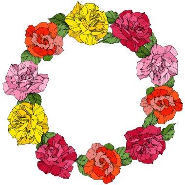 Vektör gül. Botanik çiçek çiçekler. Vahşi Bahar bırakır. Kırmızı, pembe ve sarı oyulmuş mürekkep sanat. Çerçeve kenarlığı süsleme çelenk.