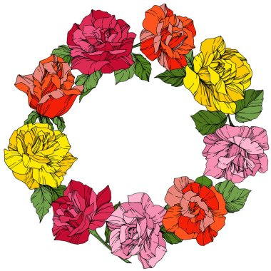 Vector Roses. Floral botanical flowers. Wild spring leaves. Red, pink and yellow engraved ink art. Frame border ornament wreath.