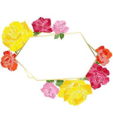 Vector Roses. Floral botanical flowers. Orange, pink and yellow engraved ink art. Frame golden crystal. Geometric polygon crystal shape.