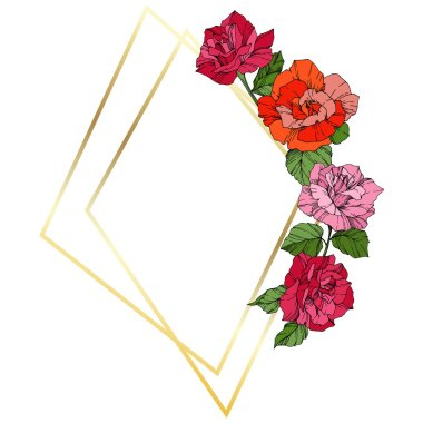 Vector Roses. Orange, pink and yellow engraved ink art. Frame golden crystal. Geometric polygon crystal shape.
