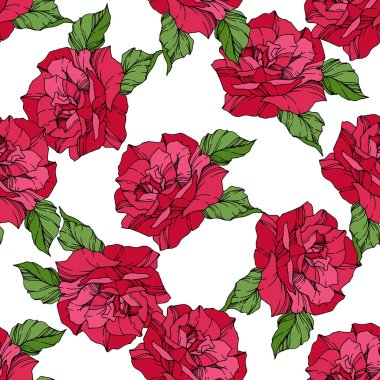 Beautiful vector roses. Wild spring leaves. Red color engraved ink art. Seamless background pattern. Fabric wallpaper print texture.