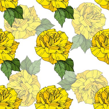 Beautiful vector roses. Wild spring leaves. Yellow color engraved ink art. Seamless background pattern. Fabric wallpaper print texture. clip art vector