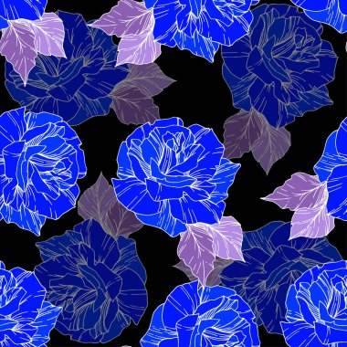 Beautiful vector roses. Wild spring leaves. Blue engraved ink art. Seamless background pattern. Fabric wallpaper print texture. stock vector