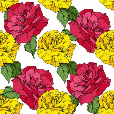Beautiful vector roses. Pink and yellow engraved ink art. Seamless background pattern. Fabric wallpaper print texture. clip art vector