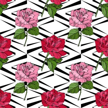 Beautiful vector roses. Red color engraved ink art. Seamless background pattern. Fabric wallpaper print texture. clip art vector