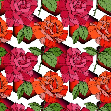 Beautiful vector roses. Red and orange color engraved ink art. Seamless background pattern. Fabric wallpaper print texture. clip art vector