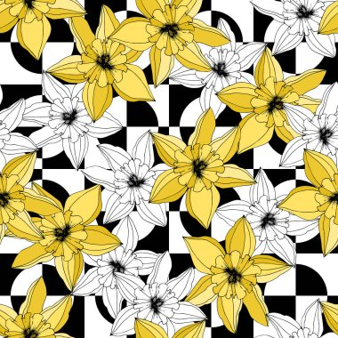 Vector Narcissus flowers. Yellow engraved ink art. Seamless pattern. Fabric wallpaper print texture on white background. clip art vector