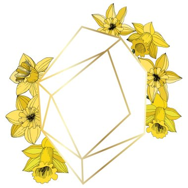 Vector Narcissus flowers. Yellow engraved ink art. Frame border ornament on white background polyhedron mosaic shape. clip art vector