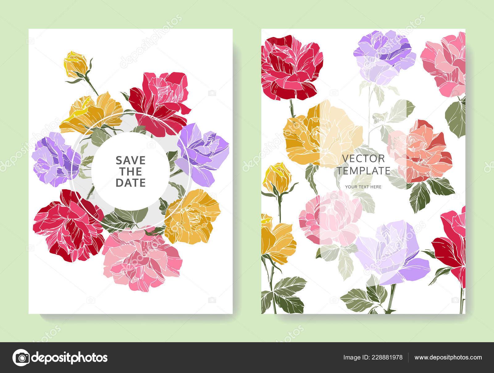 Weisse Karten Mit Rosenbluten Hochzeitskarten Mit Blumen Dekorativ