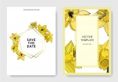 Fotografie Vector Narcissus flowers. Wedding cards with floral decorative borders. Yellow engraved ink art. Thank you, rsvp, invitation elegant cards illustration graphic set banners.