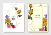 Fotografie Weiße Karten mit Rosenblüten. Hochzeitskarten mit Blumen dekorativ gravierte Tinte Kunst. Danke, rsvp, Einladung elegante Karten Illustration Grafik Banner gesetzt