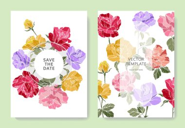 White cards with rose flowers. Wedding cards with floral decorative engraved ink art. Thank you, rsvp, invitation elegant cards illustration graphic set banners. clip art vector