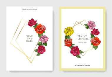 White cards with rose flowers. Wedding cards with floral decorative engraved ink art. Thank you, rsvp, invitation elegant cards illustration graphic set banners. stock vector