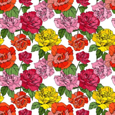 Beautiful vector roses. Orange and yellow engraved ink art. Seamless background pattern. Fabric wallpaper print texture. stock vector