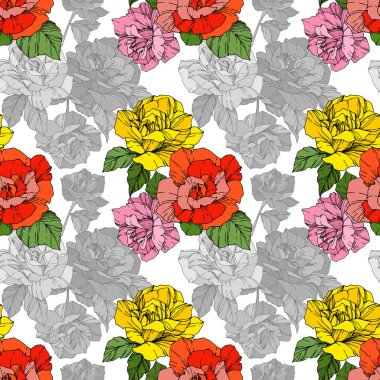 Beautiful vector roses. Orange and yellow color engraved ink art. Seamless background pattern. Fabric wallpaper print texture. clip art vector